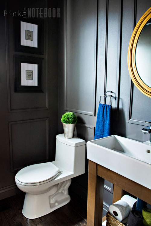 Reveal Dated Powder Room Gets A Moody Makeover Pink